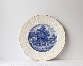 Coalport Blue White Plate, Vintage Pastoral Flow Blue Porcelain Charger, Kitchen Cabinet Display, Made in England