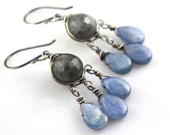 Labradorite and Kyanite Oxidized Silver Chandelier Earrings