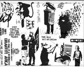 rubber stamps unmounted plate  Banksy Rubber Stamp     no. 1491 graffitti art monky, anarchy, rat, kid, mother, quotes