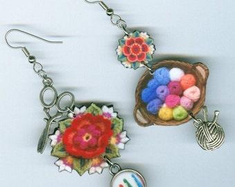 Crochet yarn crafters earrings - mismatched asymmetrical - granny square ball of yarn crochet hooks scissor - crocheters craft knitters gift