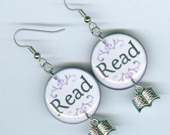 Literary Read Earrings purple - readers teachers bookish librarian gift  book club - book charm - Designs by Annette
