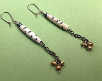 Bone and Pearl Drop Earrings - Gold Pearl - Hematite - Handmade Brass Drop Earrings