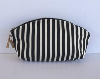 Petal Pouch, Zipper Pouch, Organize, project bag, cosmetic bag, toiletry bag, black stripes
