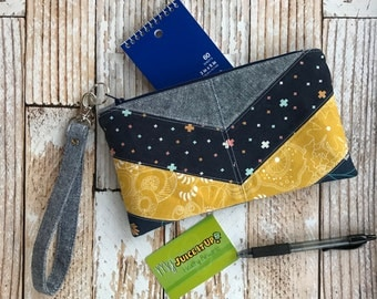 Wristlet Clutch Womens Purse Gift For Her Small Bag Blue and Yellow Blue Clutch Gift Under 25 Handmade Bag Clutch Bag