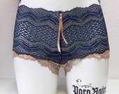SALE - SAVE 25% - ELIZA — one of a kind french knickers — super comfy lace panties — semi-sheer cheeky shorty — size Medium (hip size 98 cm