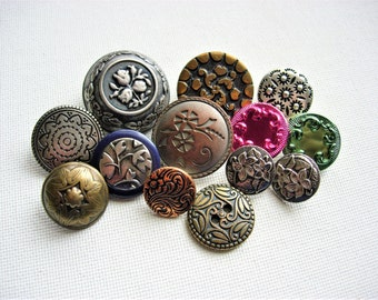 Special and Lovely Lot of Various Vintage Fancy Metal Buttons