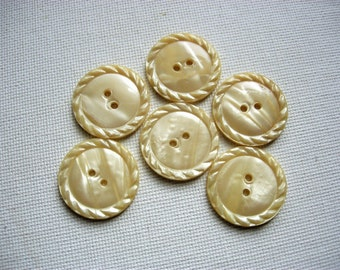 Sweet Set of Six Vintage Celluloid Wafer Buttons