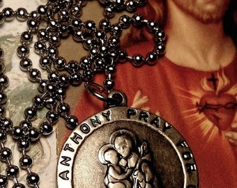 Saint St Anthony Franciscan Friars of the Atonement Long Religious Medal Necklace Silver Tone Steel Chain