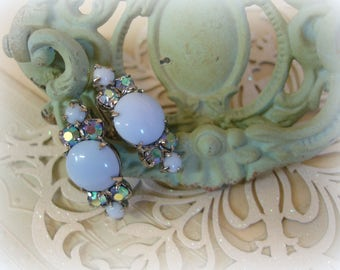 vintage mid century rhinestone earrings periwinkle milk glass + sapphire ab rhinestones unmarked beauties