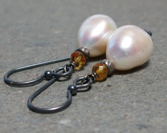 White Pearl Earrings Baroque Pearls Citrine Earrings Oxidized Sterling Silver Earrings November, June Birthstone Earrings