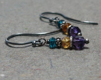 Amethyst Earrings Citrine, Blue Quartz Gemstone Stack Oxidized Sterling Silver Earrings Gift for Her August, November, February Birthstone