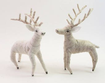 READY TO SHIP Vintage Inspired Spun Cotton Deer Ornament/Figure