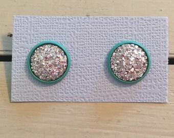 Silver and mint druzy earrings-mint druzy earrings-prom earrings-bridesmaids earrings-sparkle earrings-drusy earrings