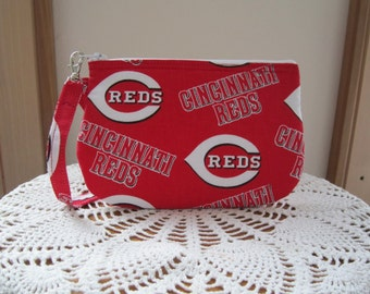 Clutch Zipper  Cincinnati Reds Gadget Pouch Wristlet Smart Phone Bag Baseball