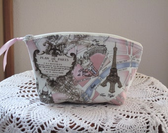 Bridesmaid Wedding Clutch Cosmetic Bag  Purse  Map of Paris Made in USA Antiquebasketlady Essential oil case