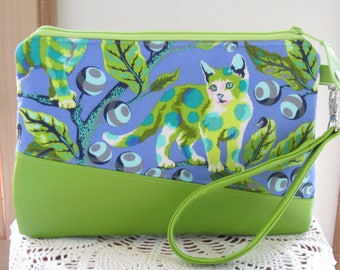 Large Clutch Wristlet Zipper Gadget Pouch Bag Disco Kitty Vegan Faux Leather Removable Wrist Strap
