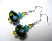 Lime Green Earrings Black Lampwork Earrings Dangle Earrings Turquoise Silver Earrings Swarovski Crystals Lime and Jet Turquoise Earrings