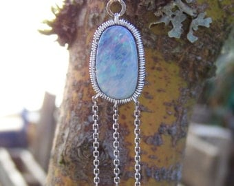 Australian Opal doublet, sterling silver wire wrap, ball and chain necklace