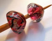 Medieval style bead spindle, dark pink and clear handmade historical glass whorl, cherry support spindle, spinning tool, viking spindle