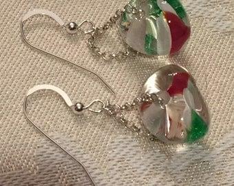 Christmas Tear Drop Onion Luscious Lampwork Handmade Glass Beads Unicorn Earrings Sterling Silver