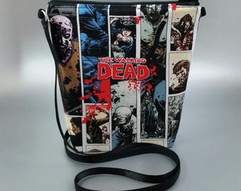 The Walking Dead - Small - Cross Body Tote - Lightweight - Black - Red - Comics - Zombies - Horror - Zippered bag - Tote bag - Purse