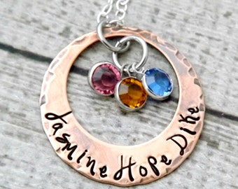 personalized necklace-mothers necklace-mommy jewelry-gift for mom-birthstone necklace-washer necklace