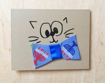 Hanukkah Card - Bow Tie Kitty