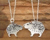 Mother Daughter Cat and Capybara Necklace Set - Set of Two Sterling Silver Capybara Necklaces