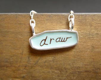 Draw / Create Necklace - Reversible Sterling Silver and Enamel Script Necklace