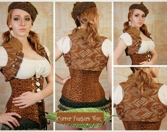 L - Coppery Feathers Vest