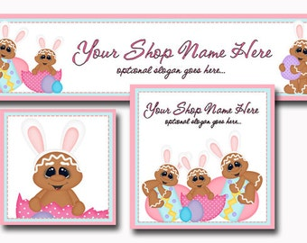 New!  Premade Etsy Cover Photo  - Large Etsy Banner - Etsy Shop Banner - Shop Icon - Gingerbread - Easter Eggs - Easter Bunnies