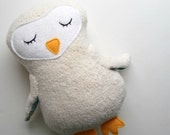 White Sleepy Owl Plushie Made from Organic Cotton Fleece
