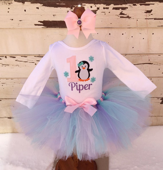 Penguin 1st Birthday Tutu Outfit- Personalized Baby Girl- Winter Onederland- Purple Pink Aqua ...