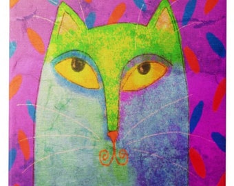 Funky Abstract Cat Painting Printed on Ceramic Tile
