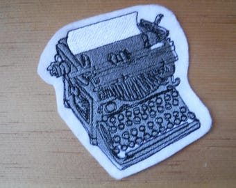 Just my Type Embroidered Iron On Patch, Patches, Embroidered Applique, Retro Typewriter, Gray White, Steampunk Victorian, Embroidered Patch