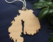 mount desert island wood ornament