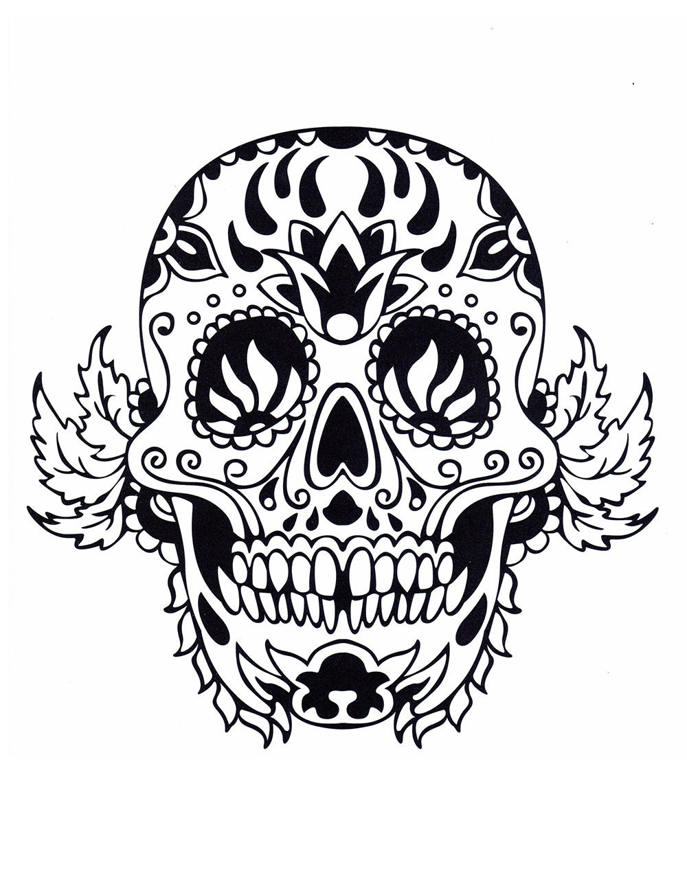 sugar skull coloring pages five different printable digital