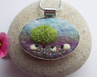 Sheep Pendant Necklace Handmade Felt Jewellery with Apple Tree