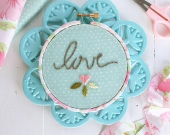 "Love in blues, floral hoop with fabric-wrapped frame, 4"" embroidered hoop"