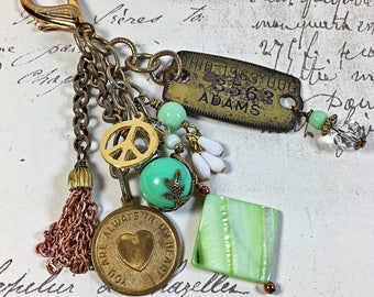 Zipper pull purse jewelry collection of vintage items beaded wire  wrapped  dog tag peace sign heart jadeite