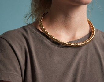 coiled gold collar necklace / thick collar necklace / minimalist collar / 1218a