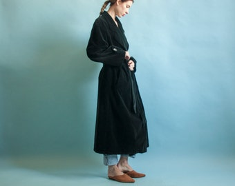 I MAGNIN black velvet belted robe coat / oversized tuxedo overcoat / classic robe coat / s / m / 2062o / R3