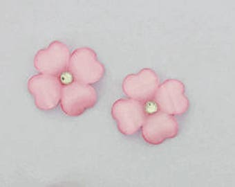 """50pieces - 1  1/8"""" Resin Flower with Gem in Pink"""