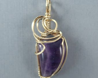Genuine Amethyst 14k Gold Filled Wire Wrapped Gemstone Pendant February Birthstone Purple