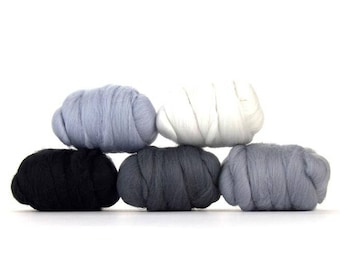 ON SALE Hazy Gray Merino Variety Pack - 5 Colors - 50 grams per color = 250 Grams or 8.8 oz total to Spin, Felt, Card, Create Fiber Art