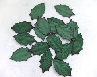 30 mini paper holly leaves - green paper leaves - mulberry paper leaves