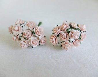 20 10mm blush pink paper roses - pink paper flowers - mulberry paper pink rose