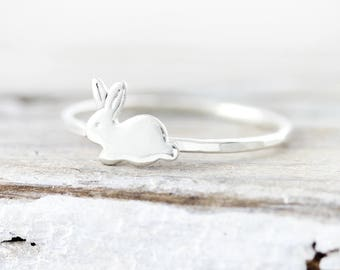 Bunny ring - sterling silver ring