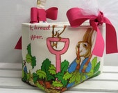 Peter Rabbit Fabric - Vintage Beatrix Potter Fabric - Easter Basket Candy Bucket Bin Egg Hunt - Personalized Name Tag Applique Available
