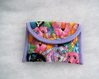 Quilted Card Holder - Laurel Burch dogs
